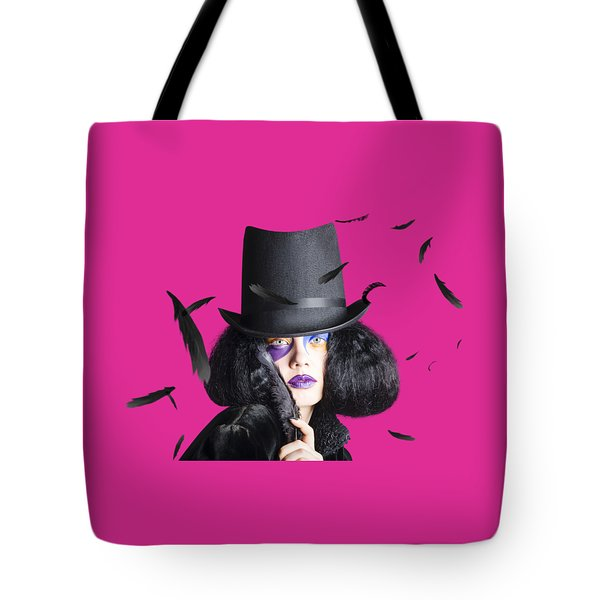 Vogue Woman In Black Costume Tote Bag