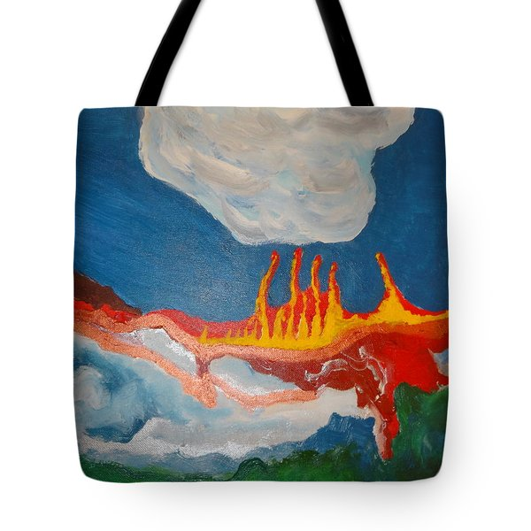 Tote Bag featuring the painting Volcanic Action by Rod Ismay