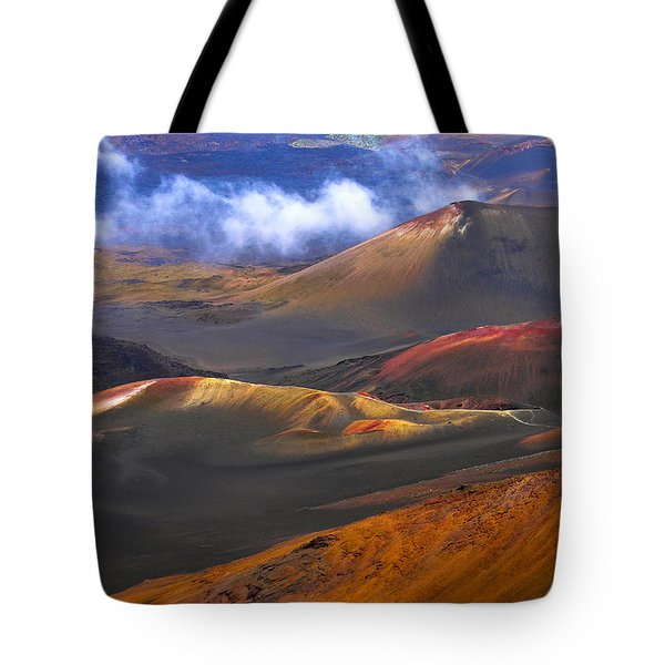 Tote Bag featuring the photograph Volcanic Crater In Maui by Debbie Karnes
