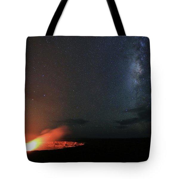 Volcano Under The Milky Way Tote Bag