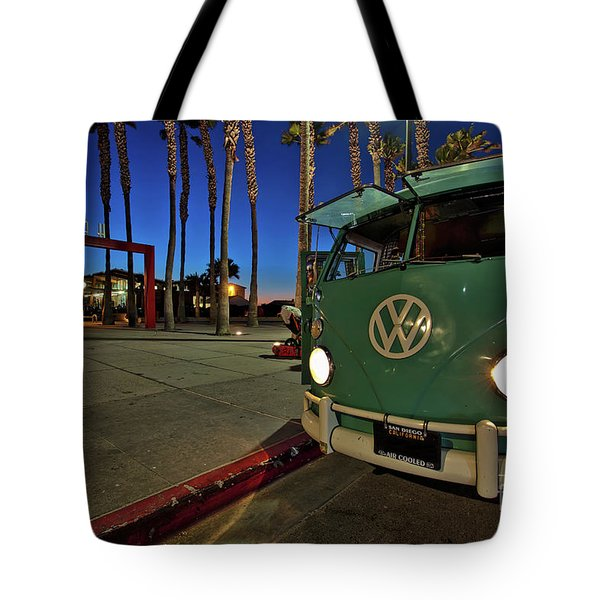 Volkswagen Bus At The Imperial Beach Pier Tote Bag