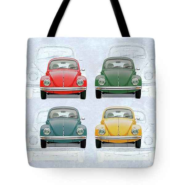 Volkswagen Type 1 - Variety Of Volkswagen Beetle On Vintage Background Tote Bag