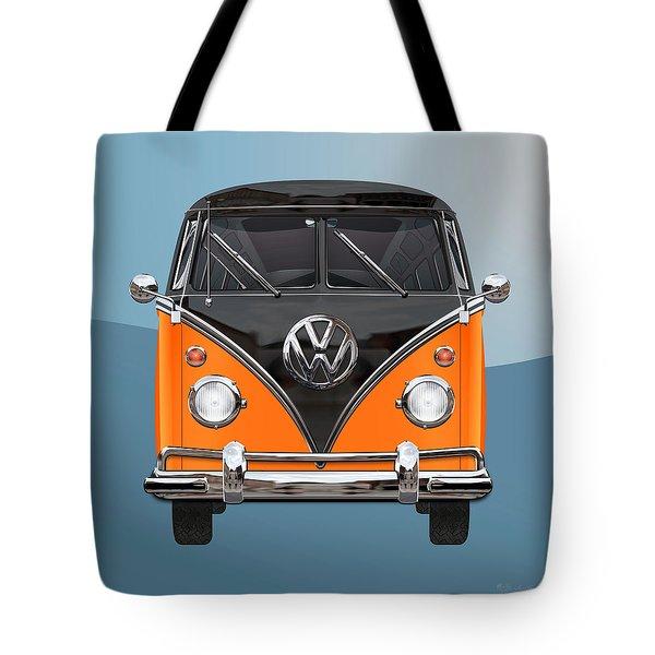 Volkswagen Type 2 - Black And Orange Volkswagen T 1 Samba Bus Over Blue Tote Bag