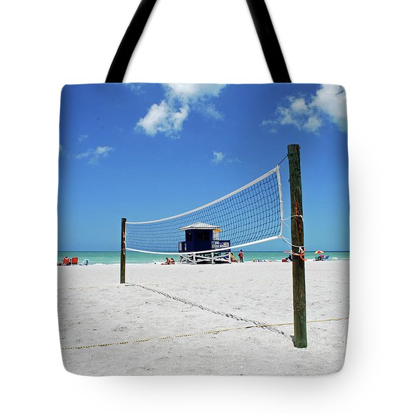 Tote Bag featuring the photograph Volley Ball On The Beach by Gary Wonning