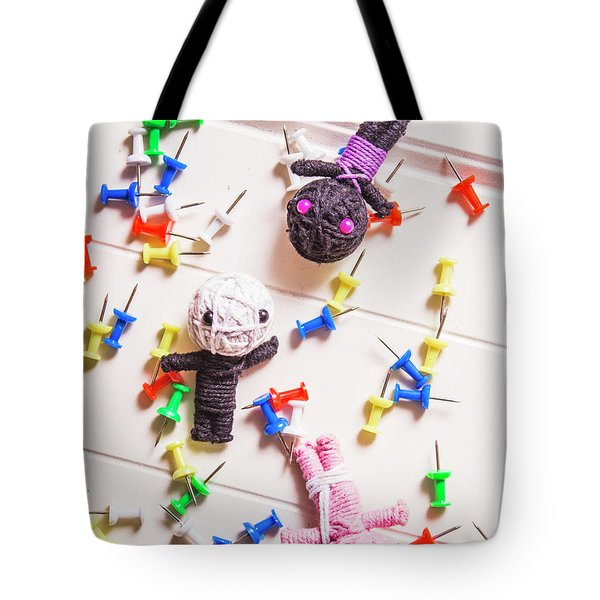 Voodoo Dolls Surrounded By Colorful Thumbtacks Tote Bag