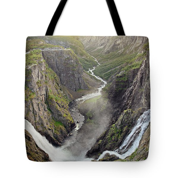 Voringsfossen Waterfall And Canyon Tote Bag