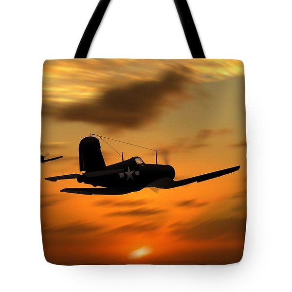 Vought Corsairs At Sunset Tote Bag