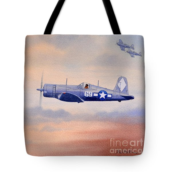 Vought F4u-1d Corsair Aircraft Tote Bag by Bill Holkham