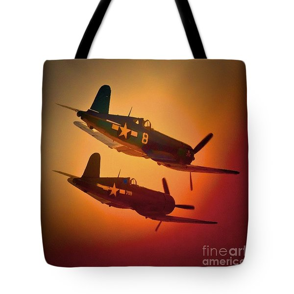 Vought F4u Corsair Sunset Two Ship Tote Bag
