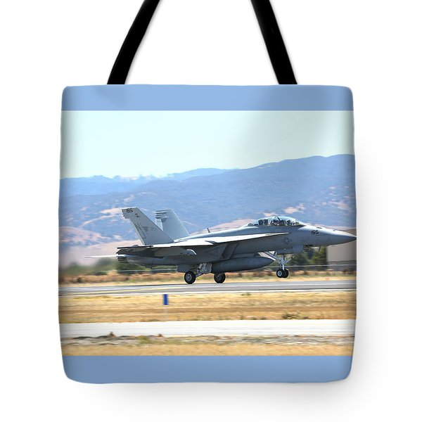 Tote Bag featuring the photograph Vr  Mcdonnell Douglas-f/a18 Hornet Departs Hollister Air Show by John King