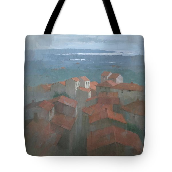 Tote Bag featuring the painting Vrsar, Croatia by Steve Mitchell