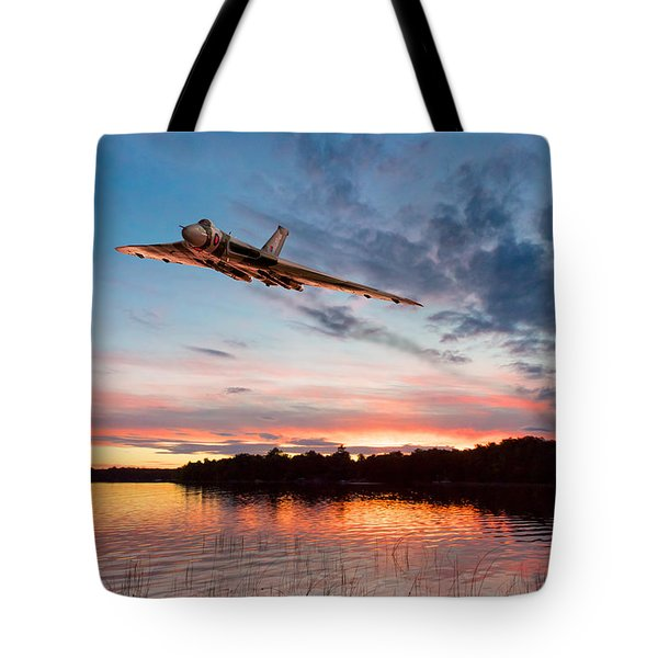 Tote Bag featuring the digital art Vulcan Low Over A Sunset Lake by Gary Eason
