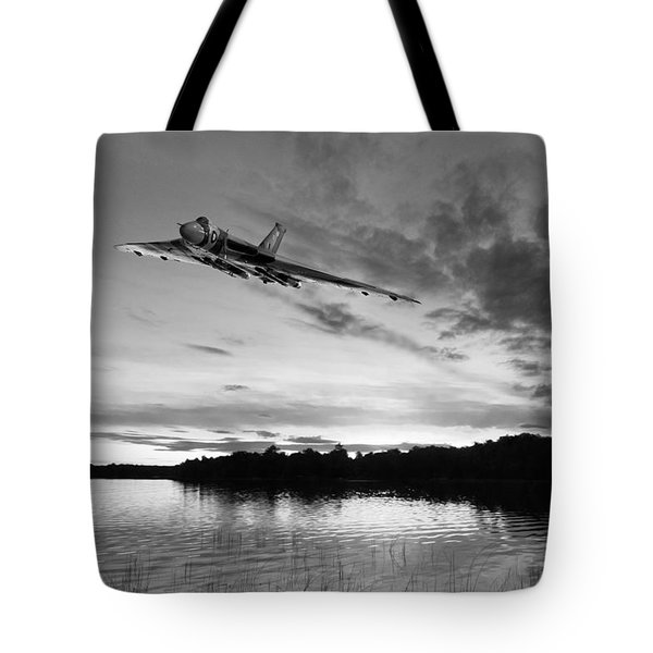 Tote Bag featuring the digital art Vulcan Low Over A Sunset Lake Sunset Lake Bw by Gary Eason