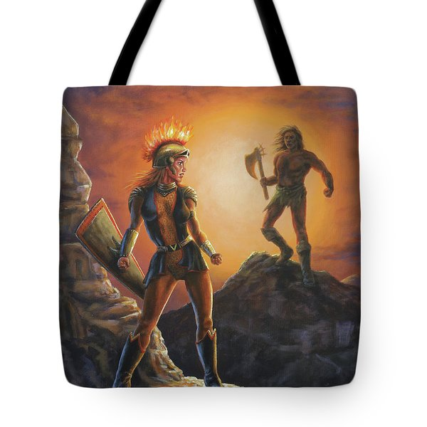 Tote Bag featuring the painting Vulcana  by Kim Lockman