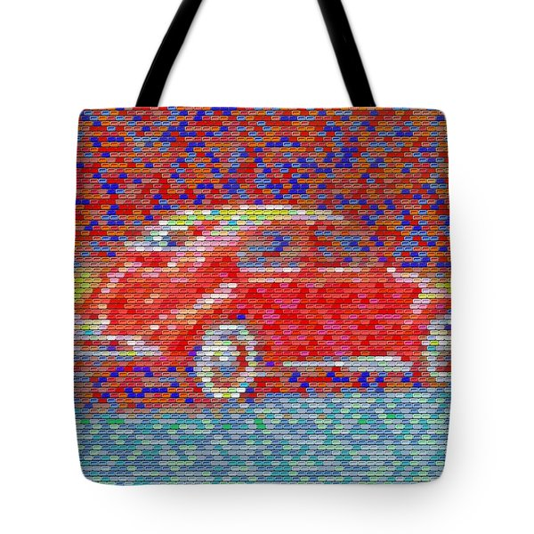 Tote Bag featuring the digital art Vw Bug Pez Mosaic by Paul Van Scott