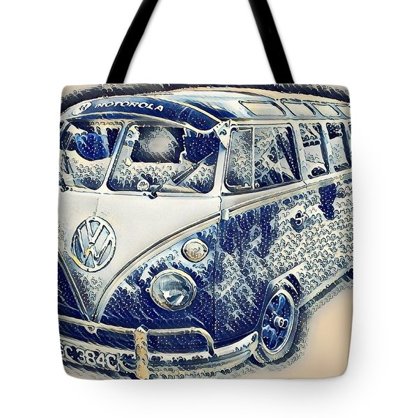 Vw Camper Van Waves Tote Bag by John Colley