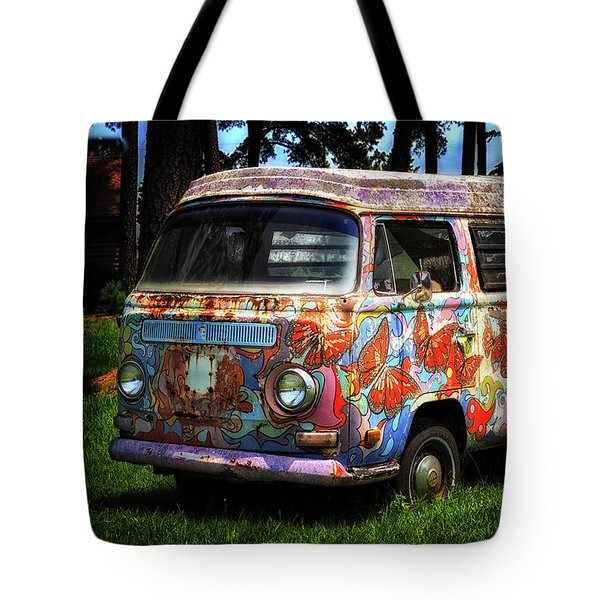 Vw Psychedelic Microbus Tote Bag