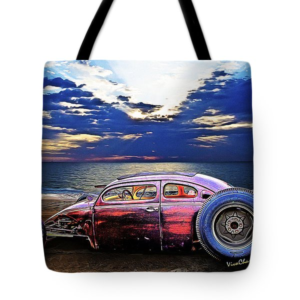 Rat Rod Surf Monster At The Shore Tote Bag