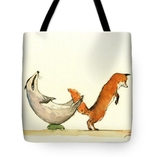 W Letter Woodland Animals Tote Bag