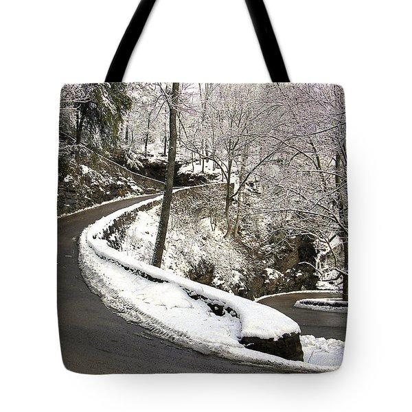 W Road In Winter Tote Bag
