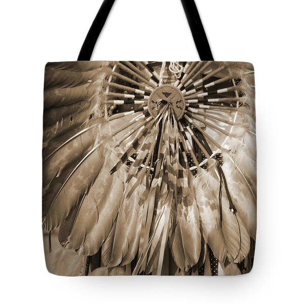 Tote Bag featuring the photograph Wacipi Dancer In Sepia by Heidi Hermes