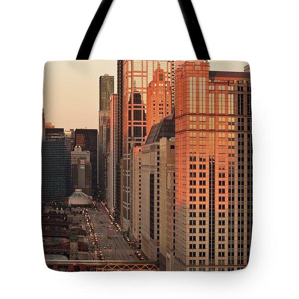 Wacker Drive Sunset Chicago Tote Bag