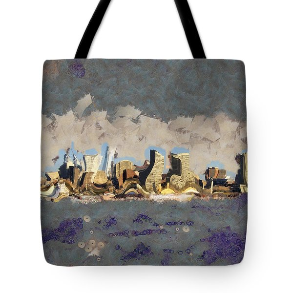 Tote Bag featuring the mixed media Wacky Philly Skyline by Trish Tritz