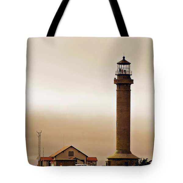 Wacky Weather At Point Arena Lighthouse - California Tote Bag by Christine Till