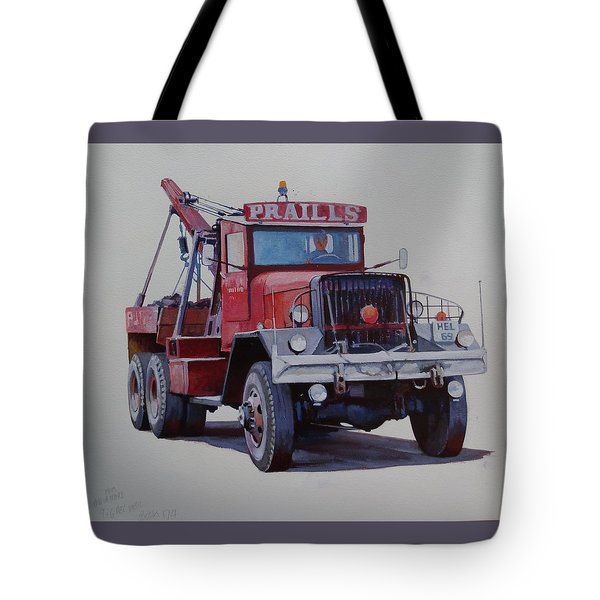 Tote Bag featuring the painting Ward La France Wrecker by Mike Jeffries
