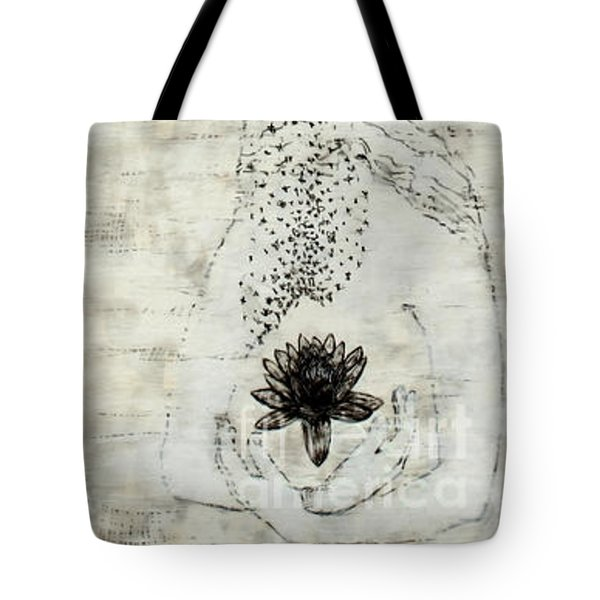 Wader With Lotus Flower Tote Bag