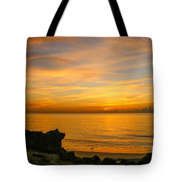 Wading In Golden Waters Tote Bag