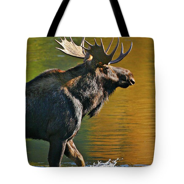 Tote Bag featuring the photograph Wading Moose by Wesley Aston