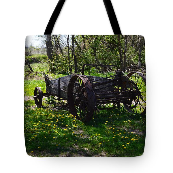 Wagon And Dandelions Tote Bag
