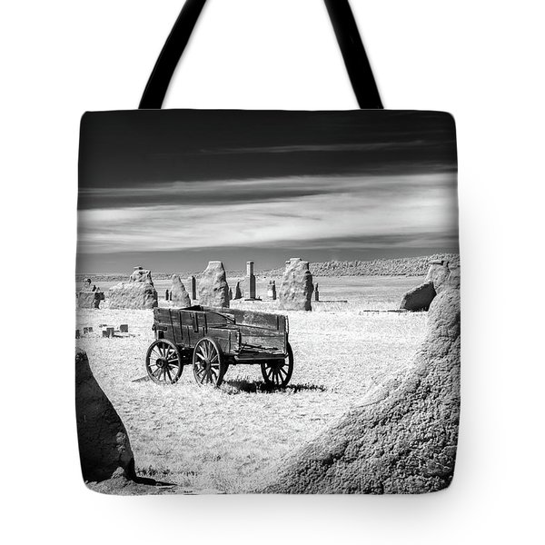 Wagon At Fort Union Tote Bag by James Barber