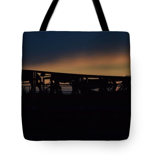 Wagon Train Slihoutte Tote Bag by Mark McReynolds