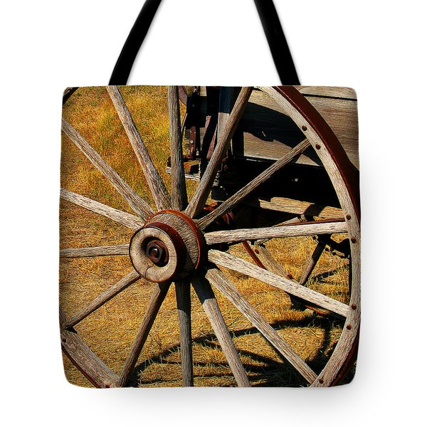 Wagon Wheel Tote Bag by Perry Webster