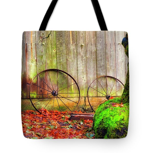 Wagon Wheels And Autumn Leaves Tote Bag