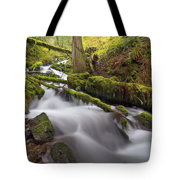 Wahkeena Creek In Green Tote Bag by David Gn