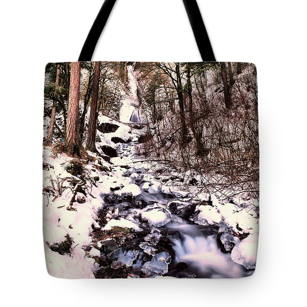 Tote Bag featuring the photograph Wahkeena Falls In Ice by Jeff Swan