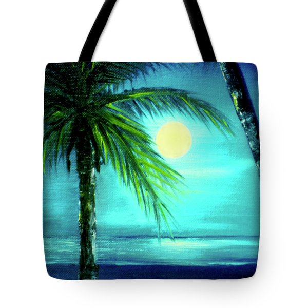 Waikiki Beach Moon #22 Tote Bag by Donald k Hall