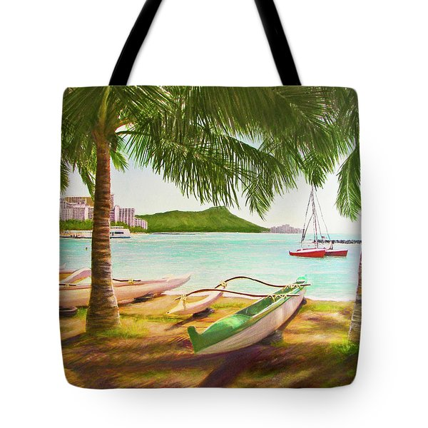Waikiki Beach Outrigger Canoes 344 Tote Bag by Donald k Hall