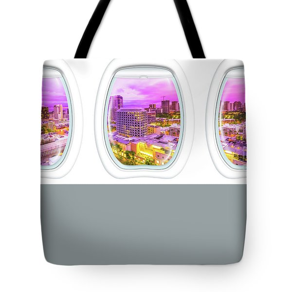 Tote Bag featuring the photograph Waikiki Porthole Windows by Benny Marty