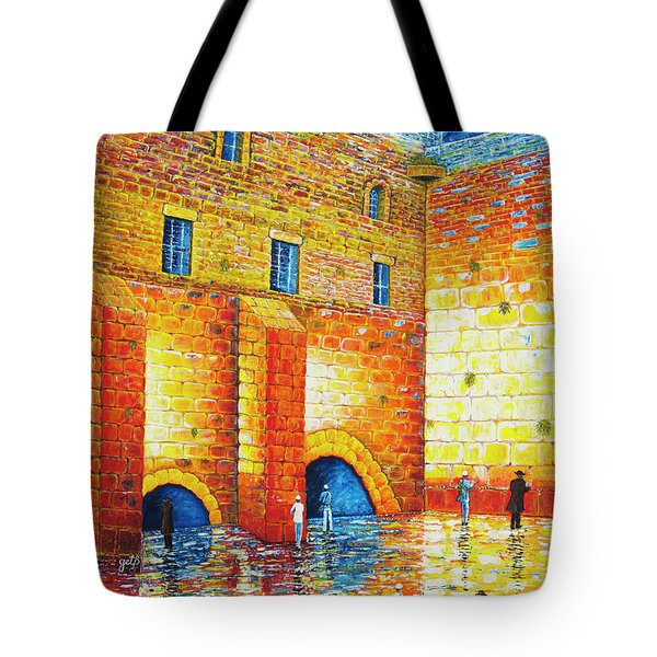 Tote Bag featuring the painting Wailing Wall Original Palette Knife Painting by Georgeta Blanaru