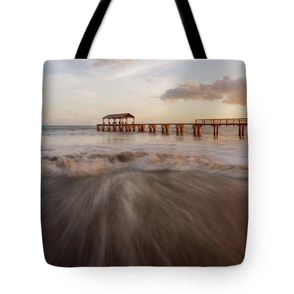 Tote Bag featuring the photograph Waimea Pier by Dustin LeFevre