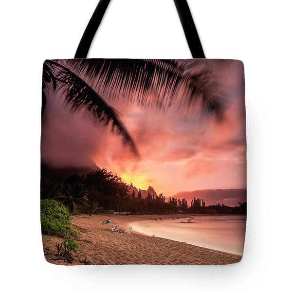 Wainiha Kauai Hawaii Bali Hai Sunset Tote Bag