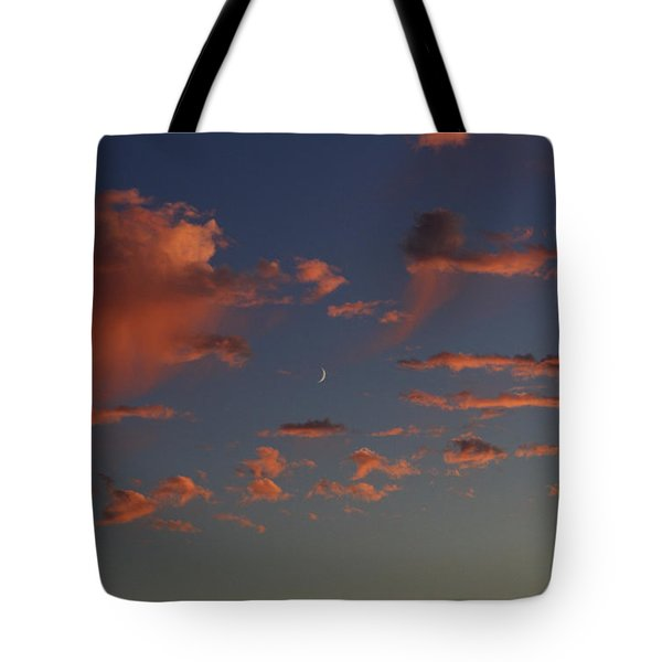 Waining Moon Pink Clouds Tote Bag