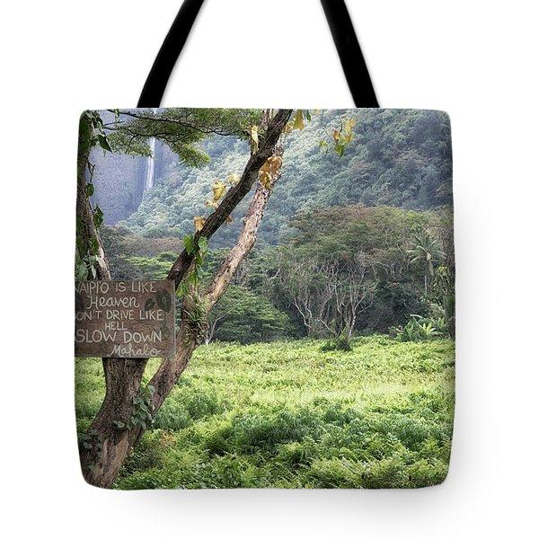 Waipio Valley Road Rules Tote Bag
