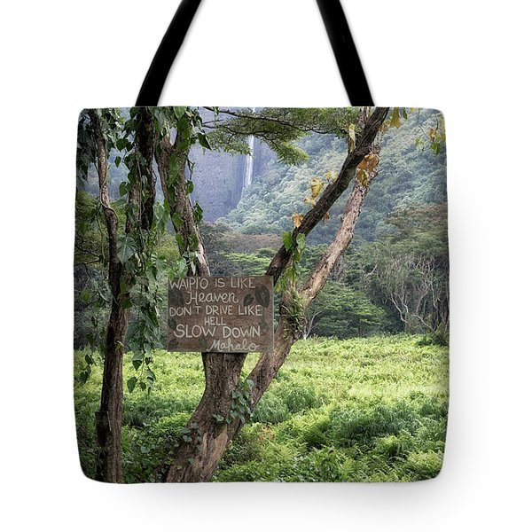 Waipio Valley Road Rules Tote Bag
