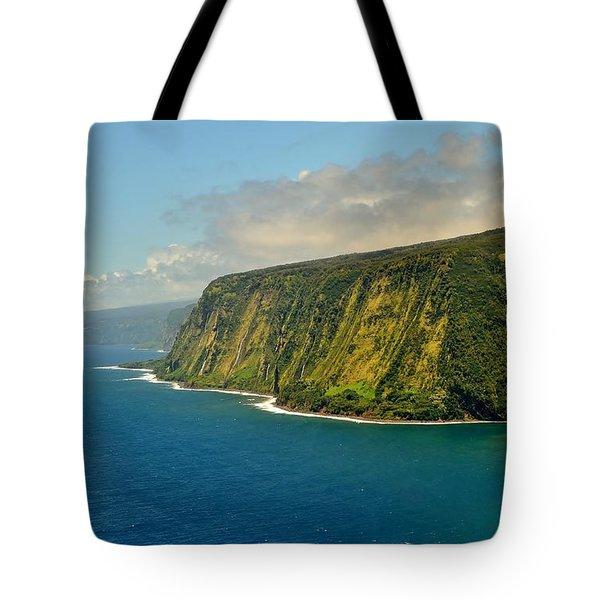 Waipio Waterfall Coastline Tote Bag