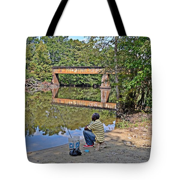 Waiting For A Bite Tote Bag by Linda Brown